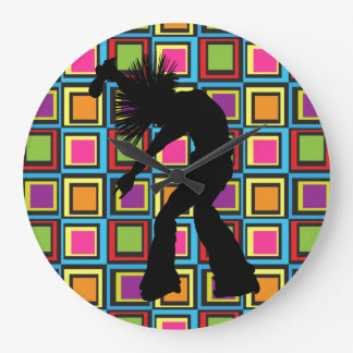Funky Retro Singer Dancer Large Clock