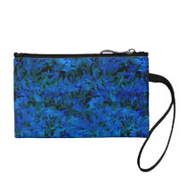 Funky Retro Style Abstract Charcoal Sapphire Blue Change Purse