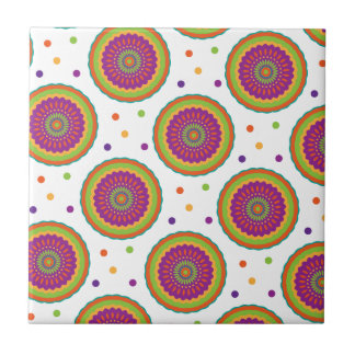 Funky Retro Style Flower and Spot Pattern Ceramic Tile