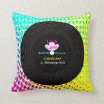 Funky Retro Vinyl Record Theme Wedding Gift Pillow