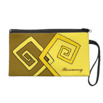 Funky Retro Yellow Lines Brown and Yellow Wristlet at Zazzle