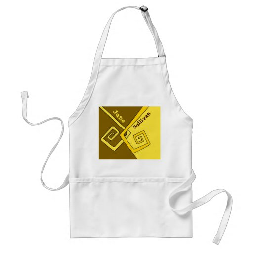 Funky Retro Yellow Lines Brown Yellow Kids Crafts Aprons