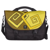 Funky Retro Yellow Lines Brown Yellow Laptop Bag at Zazzle