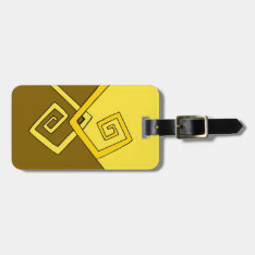 Funky Retro Yellow Lines Brown Yellow Luggage Bag Tag at Zazzle