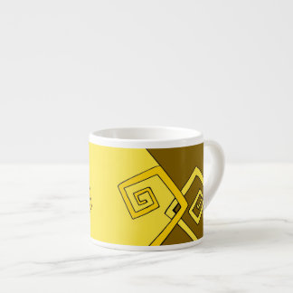 Funky Retro Yellow Lines Brown Yellow Specialty Espresso Cup