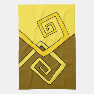 Funky Retro Yellow Lines Brown & Yellow Tea Towel at Zazzle