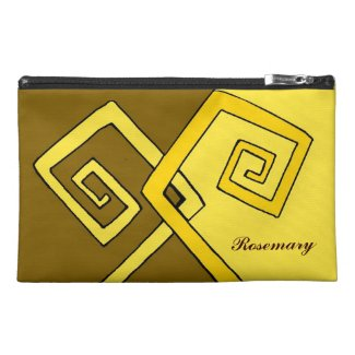 Funky Retro Yellow Lines Brown Yellow Travel Bag Travel  Accessory Bags