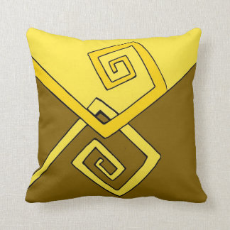 Funky Retro Yellow Lines on Brown and Yellow Throw Pillow