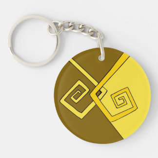 Funky Retro Yellow Lines on Brown Yellow Keyring