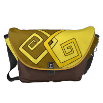 Funky Retro Yellow on Brown Yellow Large Messenger Courier Bags  at Zazzle