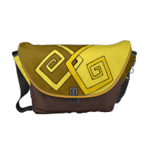 Funky Retro Yellow on Brown Yellow Med Messenger Courier Bags at  Zazzle