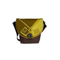 Funky Retro Yellow on Brown Yellow Mini Messenger Messenger Bags  at Zazzle