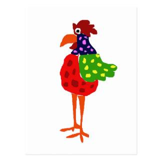 Funky Rooster Folk Art Design Postcard