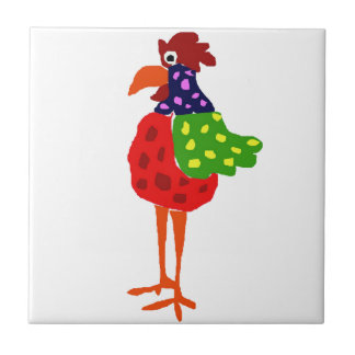 Funky Rooster Folk Art Design Small Square Tile