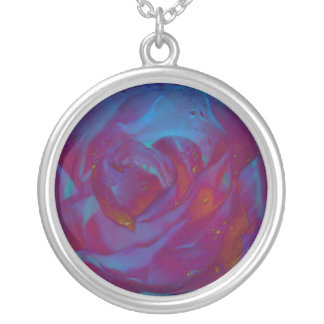 Funky Rose Round Pendant Necklace