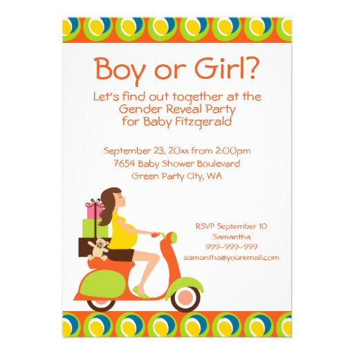 Funky Scooter Mom To Be Gender Reveal Party Invite