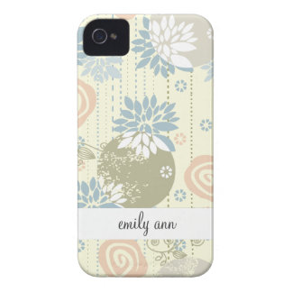Funky Screen Print Flowers in Pastel Colors iPhone 4 Case-Mate Case