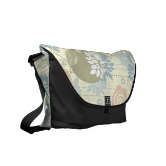 Funky Screen Print Flowers in Pastel Colors Commuter Bags