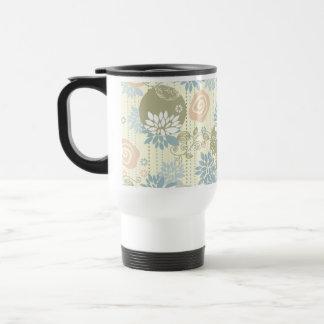 Funky Screen Print Flowers in Pastel Colors Travel Mug
