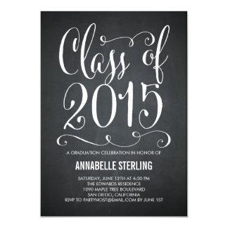 """Funky Script Graduation Invitation - Chalkboard 5"""" X 7"""" Invitation Card"""