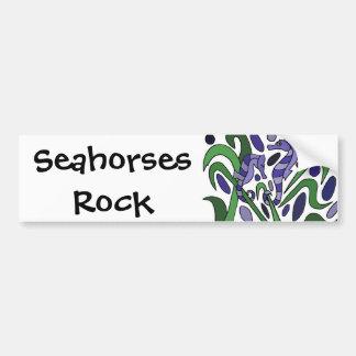 Funky Seahorse Art Abstract Car Bumper Sticker