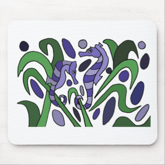 Funky Seahorse Art Abstract Mouse Pad