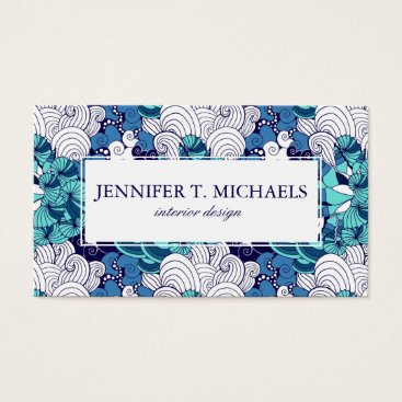 Beach Themed Funky Seashell Pattern Business Card