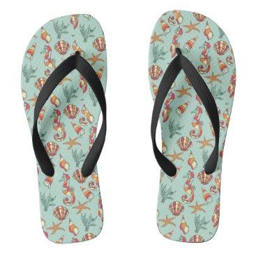 Beach Themed Funky Seashells & Seahorses Designer Flip Flops