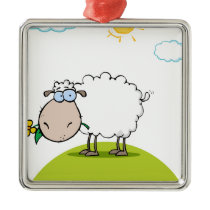 Funky Sheep With Flower In Mouth Metal Ornament