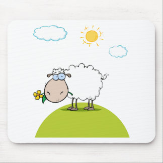 Funky Sheep With Flower In Mouth Mouse Pad