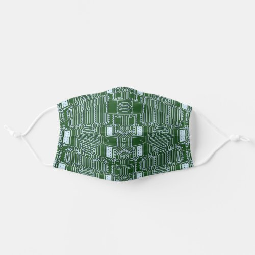 Funky Simple White Green Computer Circuit Board Cloth Face Mask