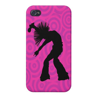 Funky Singer Dancer Pink Retro Circles iPhone 4/4S Cases
