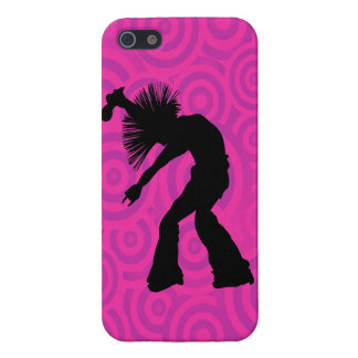 Funky Singer Dancer Pink Retro Circles iPhone SE/5/5s Cover