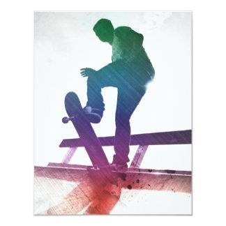 Funky Skateboarder Skate Kid 4.25x5.5 Paper Invitation Card