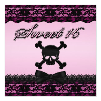 Funky Skull and Black Lace Pink Sweet 16 Card