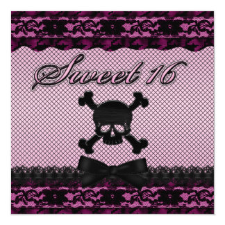 Funky Skull Black Lace Fishnet Pink Sweet 16 Card