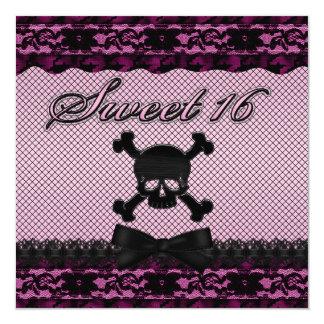 Funky Skull Black Lace Fishnet Pink Sweet 16 Card