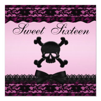 Funky Skull Black Printed Lace Pink Sweet 16 Personalized Invite