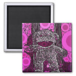 Funky Sock Monkey Circles Bubbles Pop Art 2 Inch Square Magnet