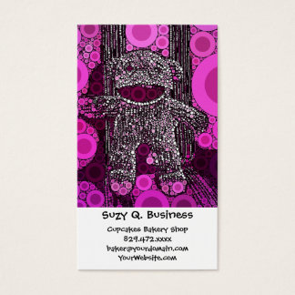 Funky Sock Monkey Circles Bubbles Pop Art Business Card