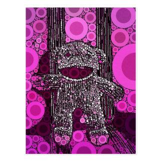 Funky Sock Monkey Circles Bubbles Pop Art Postcard