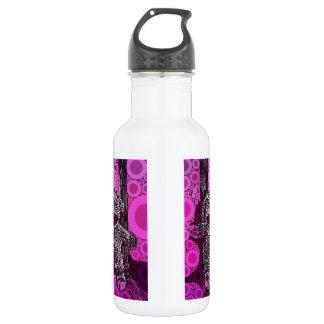 Funky Sock Monkey Circles Bubbles Pop Art Stainless Steel Water Bottle