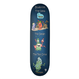 Funky Space Alien Skateboarders ~ The Blueprint Skateboard Deck