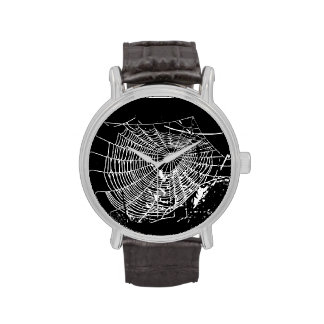 Funky Spider Web Black Leather Wrist Watch