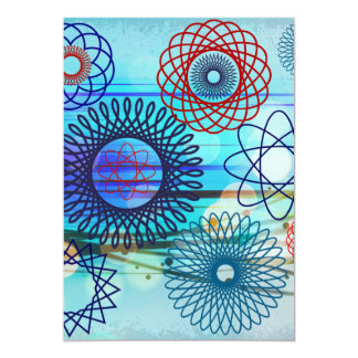 Funky Spirograph Geometric Pattern Blue Design Card