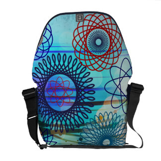 Funky Spirograph Geometric Pattern Blue Design Messenger Bag