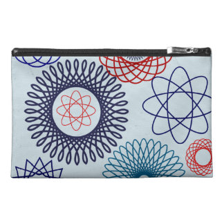 Funky Spirograph Geometric Pattern Blue Red Travel Accessories Bag