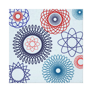 Funky Spirograph Geometric Pattern Blue Red Gallery Wrapped Canvas