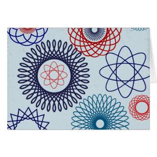 Funky Spirograph Geometric Pattern Blue Red Card
