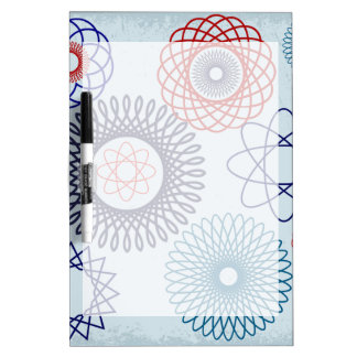Funky Spirograph Geometric Pattern Blue Red Dry Erase Boards